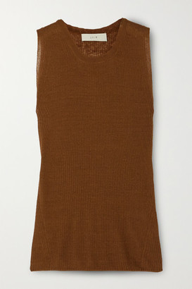 LVIR Ribbed Linen-blend Tank - Brown
