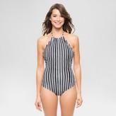 Vanilla Beach Women's Tulum Stripe Scalloped High Neck One Piece Swimsuit - Black/White