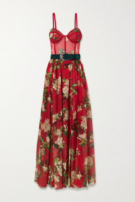 PatBO Belted Floral-print Chiffon And Lace Maxi Dress - Red