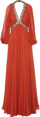 Jenny Packham Cold-shoulder Open-back Embellished Silk-georgette Gown