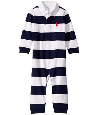 Ralph Lauren Baby Striped Cotton Rugby Coverall (Infant)