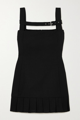 Coperni Buckled Pleated Wool Mini Dress - Black
