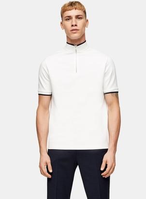Topman TopmanTopman PREMIUM White Zip Neck T-Shirt