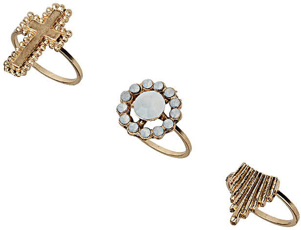 Topshop Cross Stone Midi Ring Pack