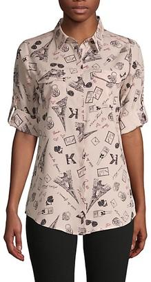 Karl Lagerfeld Paris Printed Long-Sleeve Shirt