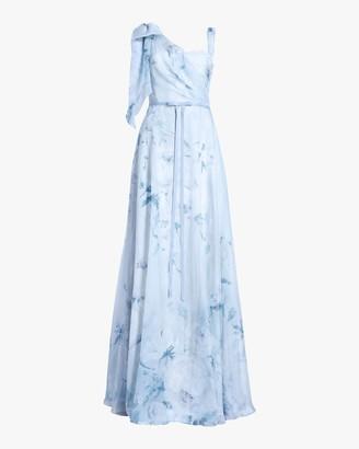 Marchesa Notte Asymmetric-Drape Chiffon Lace Gown