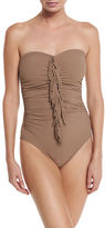 Karla Colletto Fringe-Front Bandeau One-Piece Swimsuit