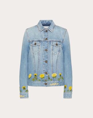 Valentino Embroidered Light Denim Jacket Women Blue 100% Cotone 40