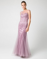 Le Château Beaded & Knit Illusion Neck Gown