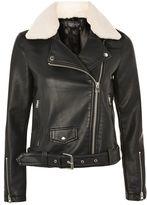 Topshop Borg Collar Faux Leather Biker Jacket