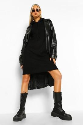 boohoo Tall Knitted Hooded Sweat Dress