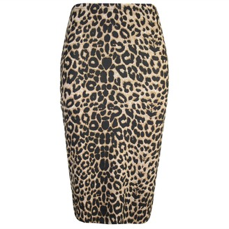 F4S Womens Plus Size High Waist Wiggle Tube Leopard Stripes Skull Bones &Other Prints Stretched Bodycon Pencil Midi Evening Cocktail Skirt S-XXXL (M-L (UK 12/14)