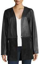 J Brand Jeans Emory Open-Front Zip-Off Leather & Suede Jacket