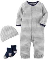 Carter's Baby Boy Striped Coverall, Hat & Socks Set