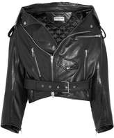 Balenciaga Oversized Leather Biker Jacket - Black