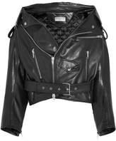 Balenciaga Oversized Leather Biker Jacket - Black