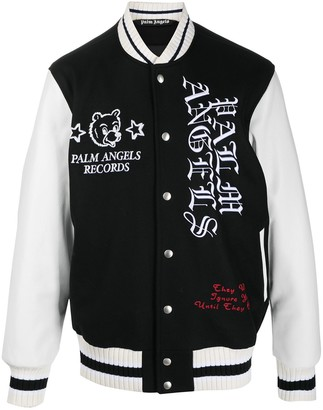 Palm Angels Patch-Detail Embroidered Varsity Jacket
