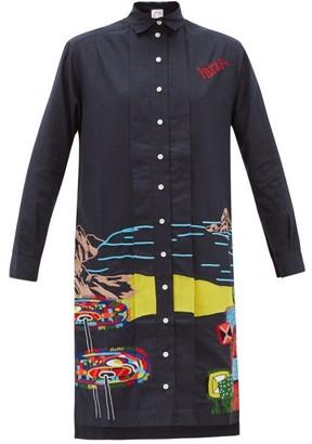 Kilometre Paris - Ibiza Embroidered Cotton Shirt Dress - Blue Multi