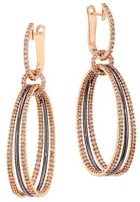 Etho Maria Diamonds In Color 18K Rose Gold, Black Rhodium & Brown Diamond Multi-Hoop Earrings