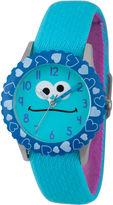 Sesame Street Blue Cookie Monster Hearts Time Teacher Strap Watch W003165