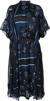 Sacai geometric and floral print sheer dress