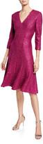 St. John Luxe Sequin V-Neck 3/4-Sleeve Tuck-Knit Dress