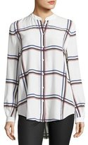 Equipment Henri Plaid Silk Blouse, White