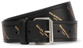Balenciaga Bazar Printed Leather Belt - Black