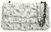 Tomas Maier T Floral Matte Leather Crossbody Bag