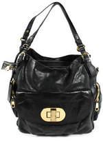 Badgley Mischka Green Black Leather Zip Pocket Large Shoulder Handbag