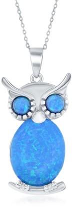 La Preciosa Sterling Silver High Polish Blue Opal Majestic Owl on Branch 18'' Necklace