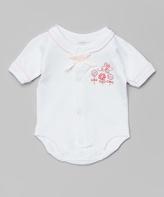SpaSilk White & Pink Butterfly Bodysuit - Infant
