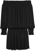 Norma Kamali Off-the-shoulder Ruched Stretch-jersey Mini Dress - Black