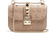 Valentino Floral-appliqué leather cross-body bag