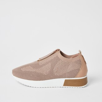 River Island Womens Pink knit half zip cleated runner trainers