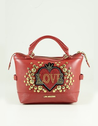 Love Moschino Red Eco-Leather Satchel Bag w/Shoulder Strap