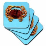 3dRose LLC Crab Ceramic Tile Coaster, Set of 4