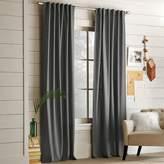 west elm Cotton Canvas Pole Pocket Curtain - Steel