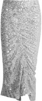 Preen by Thornton Bregazzi Gemma Ruched Sequined Stretch-jersey Midi Skirt - Silver