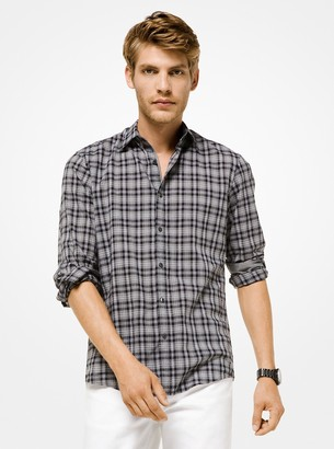 Michael Kors Slim-Fit Plaid Cotton Shirt