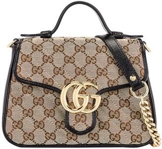 Gucci Gg Marmont 2.0 Top Handle Bag Neutral/ Black