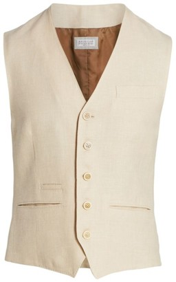 Brunello Cucinelli Linen-Blend Hopsack Vest