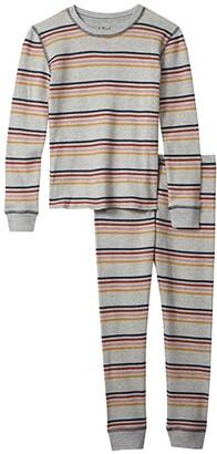 P.J. Salvage Kids Retro Stripe Revival Thermal Two-Piece Jammie Set (Toddler/Little Kids/Big Kids) (Heather Grey) Kid's Pajama Sets