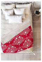 """Deny Designs Red Nature Jacqueline Maldonado Christmas Paper Cutting Red Sherpa Throw Blanket (50""""X60"""