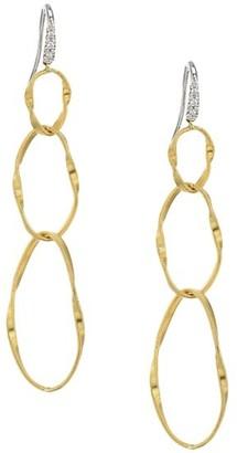 Marco Bicego Marrakech Onde 18K Yellow Gold & Diamond Coil Triple-Drop Hoop Earrings
