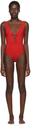 Rudi Gernreich Red Plunge One-Piece Swimsuit