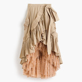 J.Crew Collection ruffle skirt in dark stone with floating dot tulle underlay