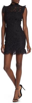 Max & Ash Ruffled Lace Bodycon Mini Dress