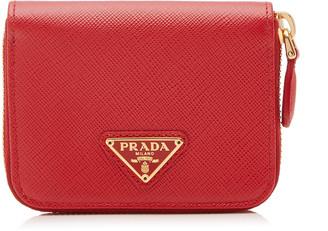 Prada Logo-Detailed Saffiano Leather Cardholder
