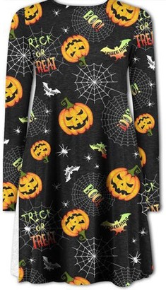 MIXLOT Ladies Halloween Printed Swing Dress for Night & Dress Up Party Wear (S/M 8-10